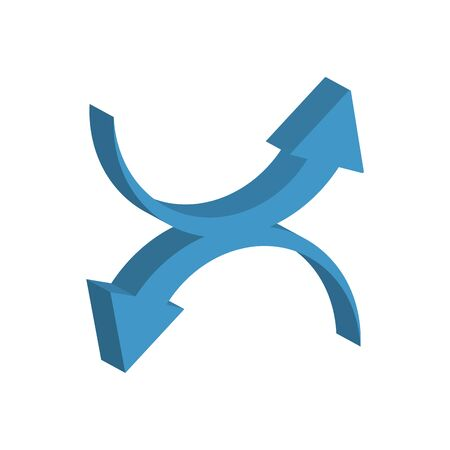 arrows up and down 3d style icon Ilustrace