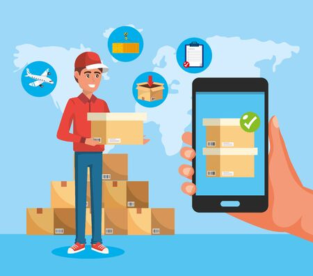 delivery man with boxes service and smartphone technology in the hand Vecteurs