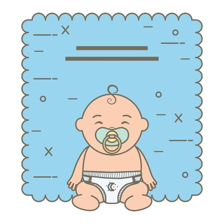 cute little baby boy character vector illustration design