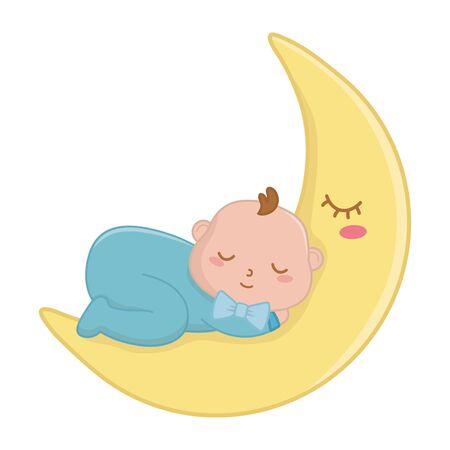 baby sleeping on the moon icon cartoon vector illustration graphic design