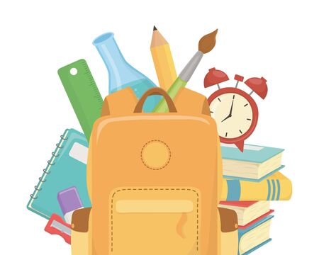 Bag design, School supply object education study lesson and class theme Vector illustration