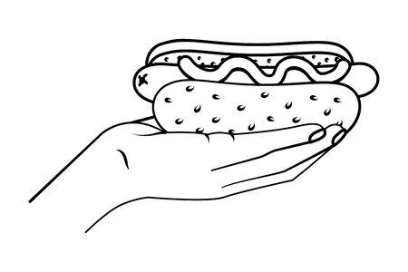 hand holding hot dog black and white