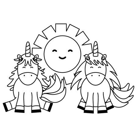 cute adorable unicorns with sun fairy characters