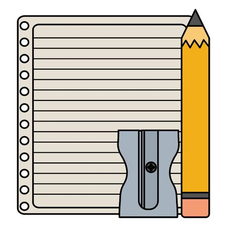 sheet of notebook paper with pencil and sharpener vector illustration design