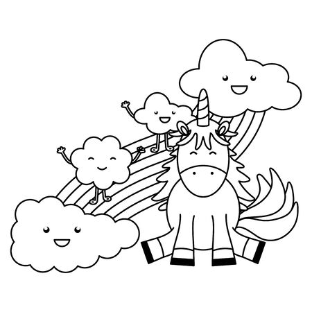 cute unicorn with clouds and rainbow kawaii characters vector illustration design