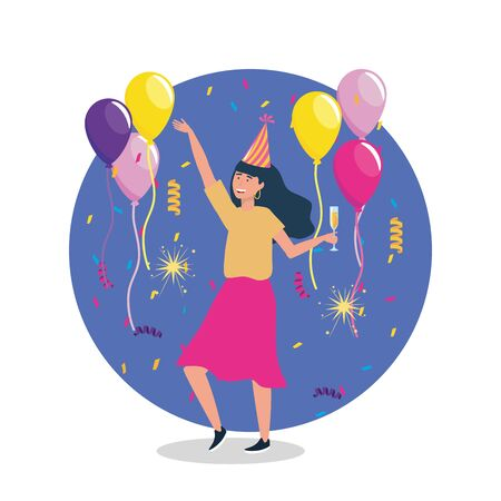 woman dancing with party hat and balloons