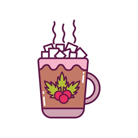chocolate cup with marshmallow decoration white background merry christmas icon Векторная Иллюстрация