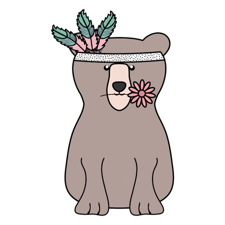bear grizzly with feathers hat bohemian style