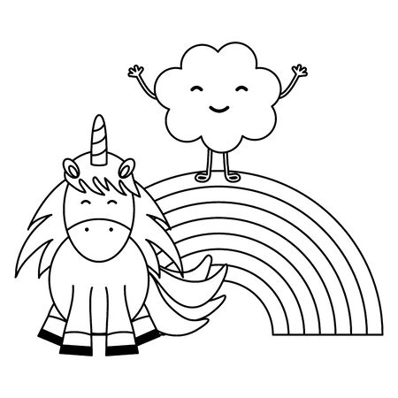 cute unicorn with clouds and rainbow characters