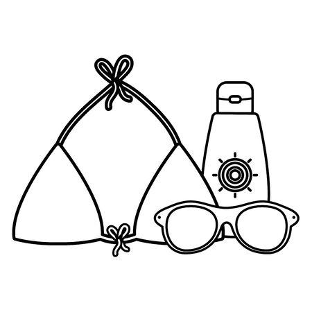 sun blocker with swimsuit female and sunglasses