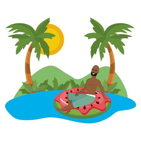 Boy with summer swimwear design Standard-Bild - 134642110