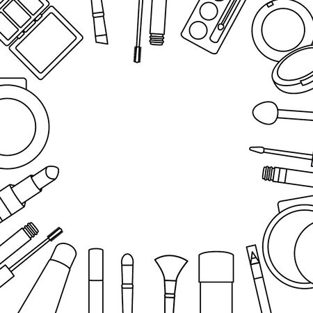 set of make up accessories drawing 일러스트