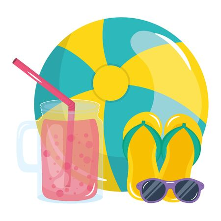beach ball with sunglasses sandal and juice fruit Stok Fotoğraf - 134641865