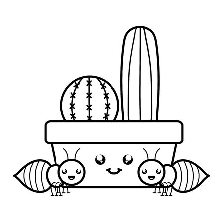 cactus in ceramic pot and ants style