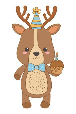 Reindeer cartoon design, Animal happy birthday celebration decoration and surprise theme Vector illustration