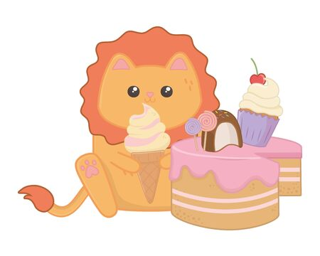 Lion cartoon design, Kawaii expression cute character funny and emoticon theme Vector illustration