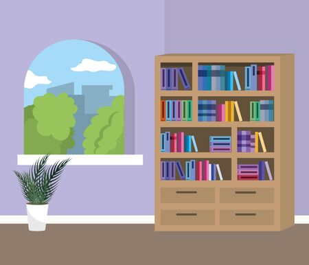 Home study room with books design