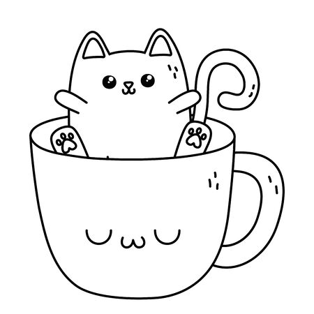 cat with cup cartoon design Illustration