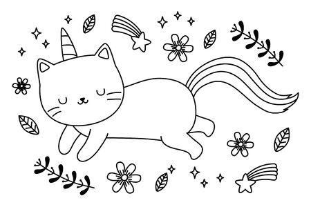 Unicorn cat cartoon vector design