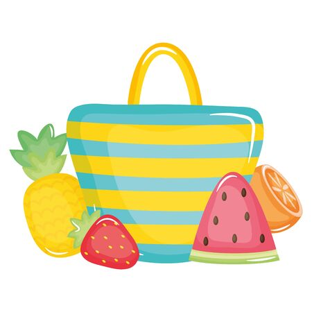 handbag female with summer fruits 矢量图像
