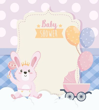 card of cute rabbit with carriage and balloons Ilustracja