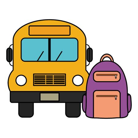bus school vehicle with schoolbag vector illustration design Illustration