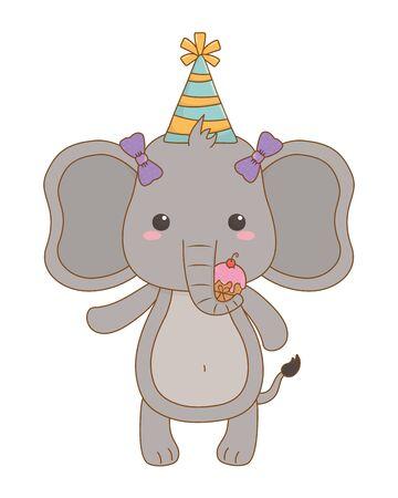 Elephant cartoon design, Animal happy birthday celebration decoration and surprise theme Vector illustration