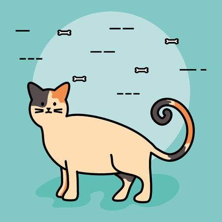 cute cat mascot adorable character vector illustration design