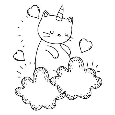 Unicorn cat cartoon design, Magic fantasy fairytale childhood and animal theme Vector illustration