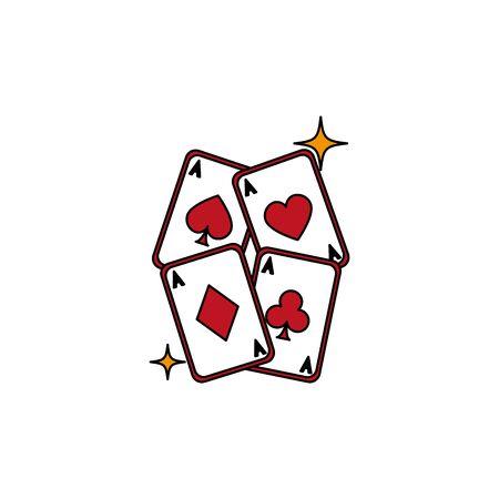 Isolated casino cards fill design