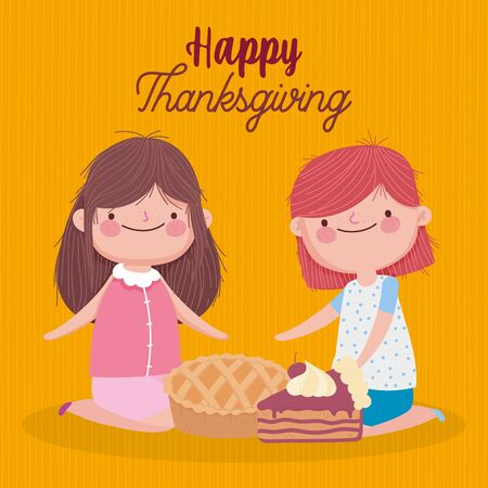 happy thanksgiving day cute girls with pie and slice cake Illustration