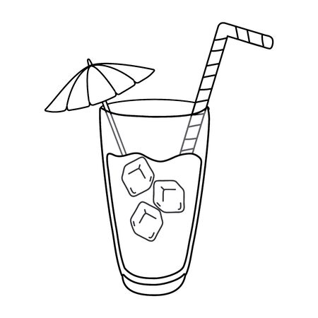 cocktail drink with straw and umbrella in black and white