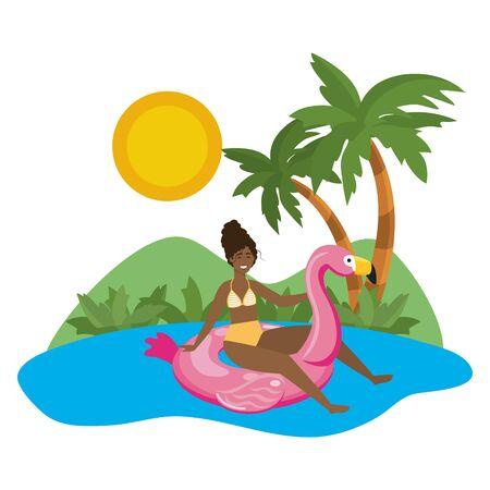 Girl with summer swimwear design Ilustrace