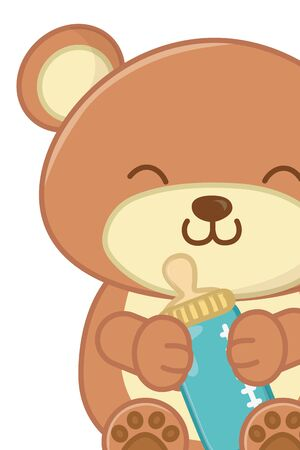 toy bear holding a feeding bottle and smiling close up vector illustration graphic design 일러스트