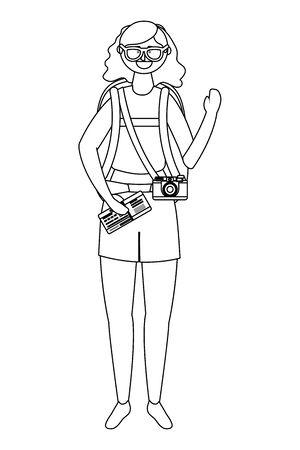 Tourist girl cartoon with bag design Ilustrace
