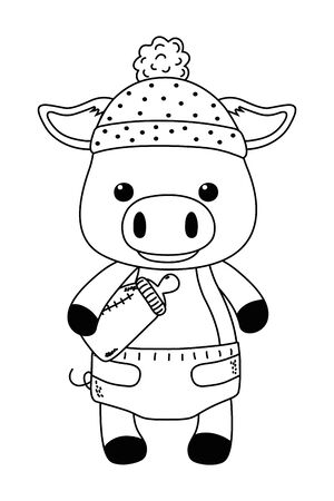 Isolated baby pig cartoon design