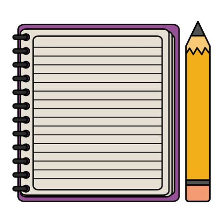 notebook school supply with pencil vector illustration design  イラスト・ベクター素材