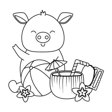 summer vacation relax cartoon vector illustration Foto de archivo - 134688031