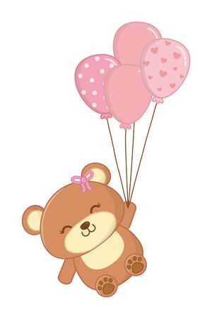 toy bear with bow and balloons decorated with stars and points vector illustration graphic design