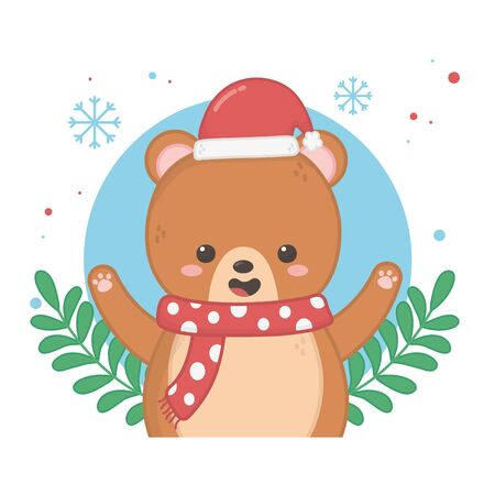happy merry christmas card with bear teddy