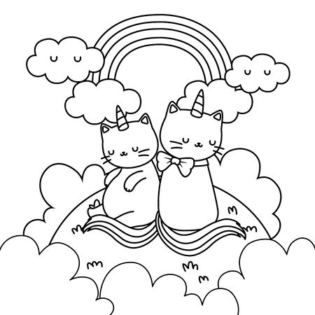 Unicorn cats cartoons design, Magic fantasy fairytale childhood and animal theme Vector illustration Illustration