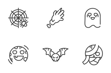 collection icons trick or treat happy halloween vector illustration line style 向量圖像