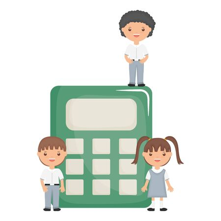 cute little students group with calculator vector illustration design