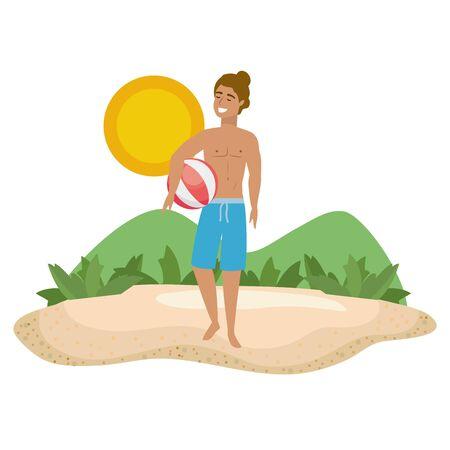 Boy with summer swimwear design Standard-Bild - 134707280