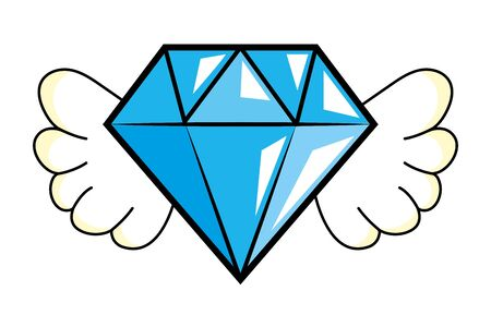 diamons with wings vector illustration