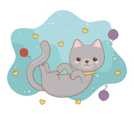 cute little cat mascot with wool roll and hearts pattern vector illustration design Illustration