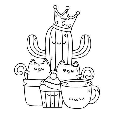 Isolated cats cartoon design vector illustration