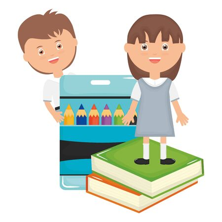 cute little students couple with colors pencils and books vector illustration design