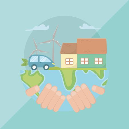 Hand holding planet design, Save energy ecology power eco and environment theme Vector illustration