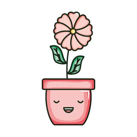 beautiful flower with leafs in ceramic pot kawaii character vector illustration design Иллюстрация